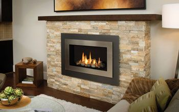 Valor 1100I H5 Series Gas Direct Vent Fireplace or Insert with Pebble Beach Driftwood Fire. Installed with 4-Sided Black Trim Kit & Fluted Black Liner in Custom Vertical Brick Wall Panels. To learn more visit: www.valorfireplaces.com