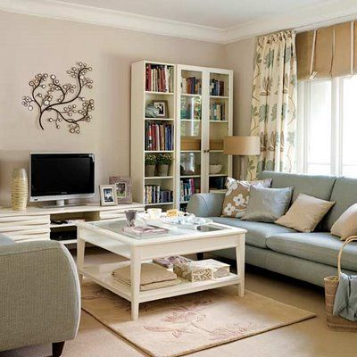 pretty living room green rooms walls 15 decors for the home neutrals blue white sofa
