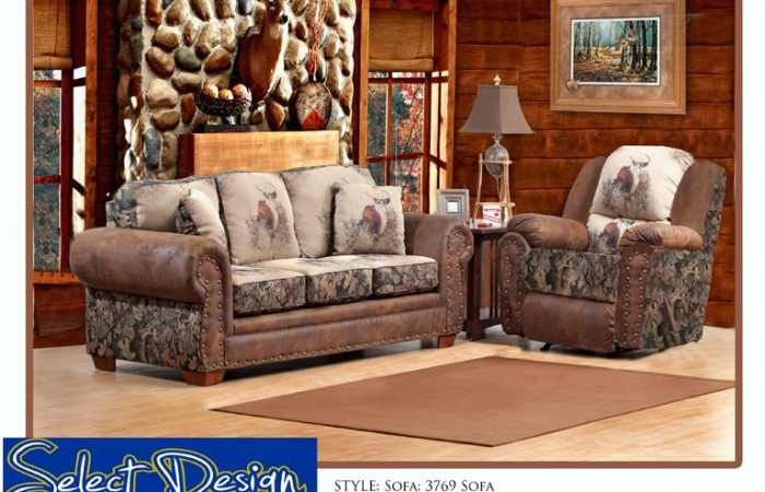 Camo And Deer Print Sofa And Recliner Camo Living Rooms