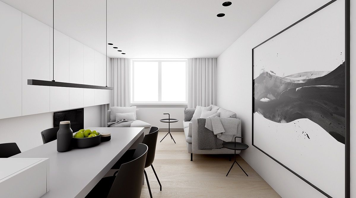 Innenausstattung Wohnzimmer Minimalist : Monochrome minimalist spaces creating black and white magic