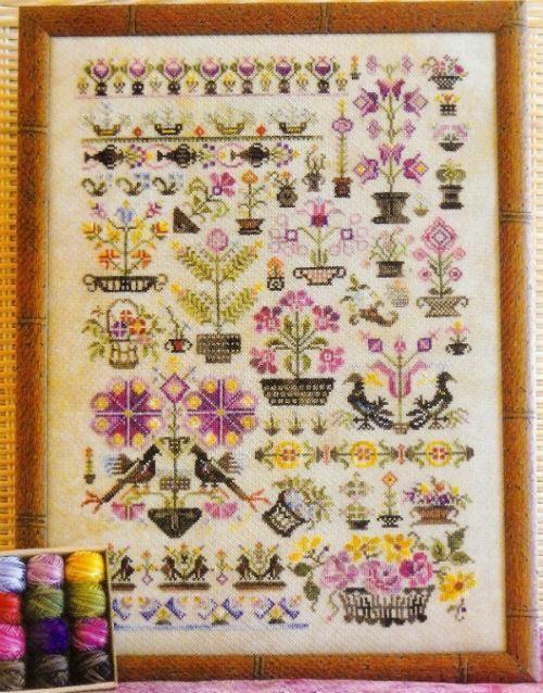 Sampler Rosewood Manor Cross Stitch Pattern or Kit Baskets