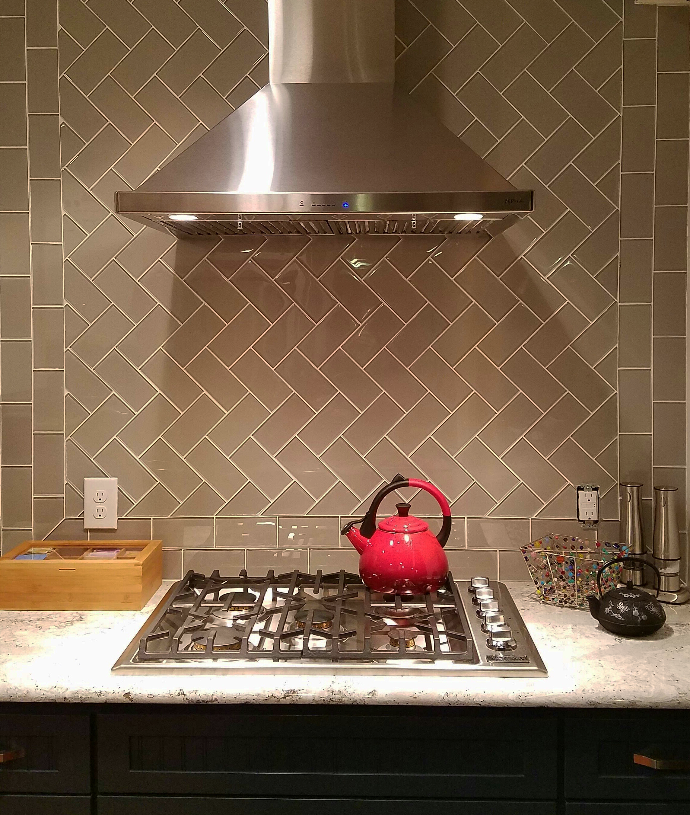Solid Glass Backsplash Kitchen: Taupe Glass Subway Tile In 2019