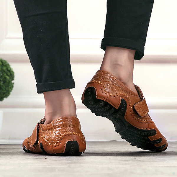 1e8cdd87d6d Menico Men Large Size Hand Stitching Hook Loop Soft Sole Casual Driving  Shoes. High-quality Men British Style Color Blocking Flat Slip On Casual  Backless ...