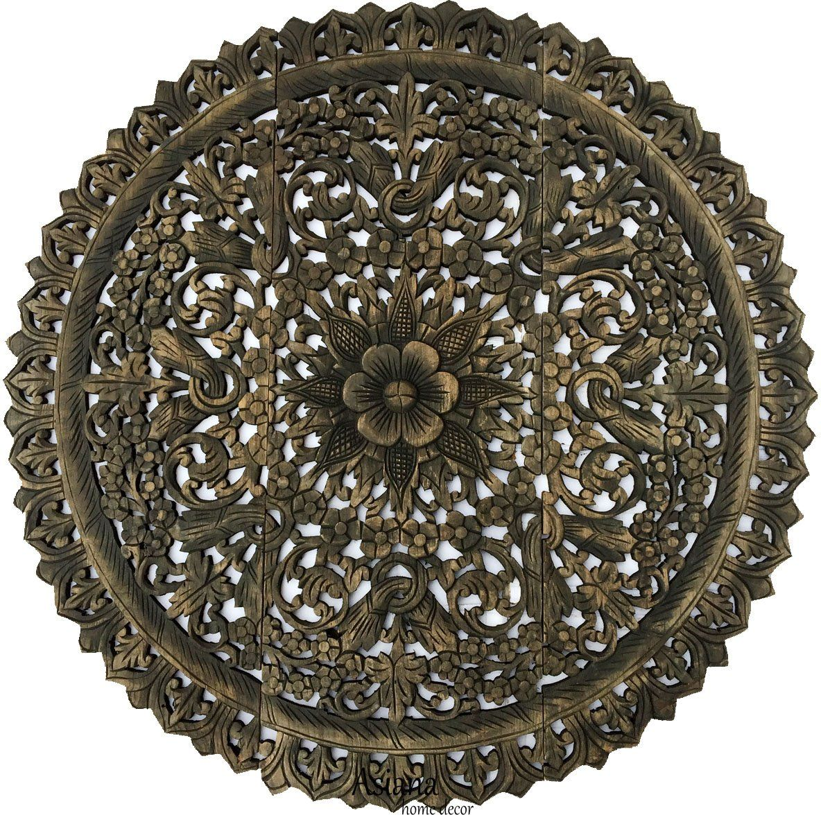 Elegant medallion wood carved wall plaque floral bali rustic home