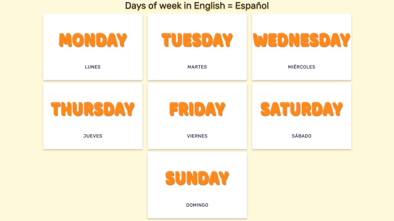 Dias De La Semana En Ingles En Imagenes Y Listas Para