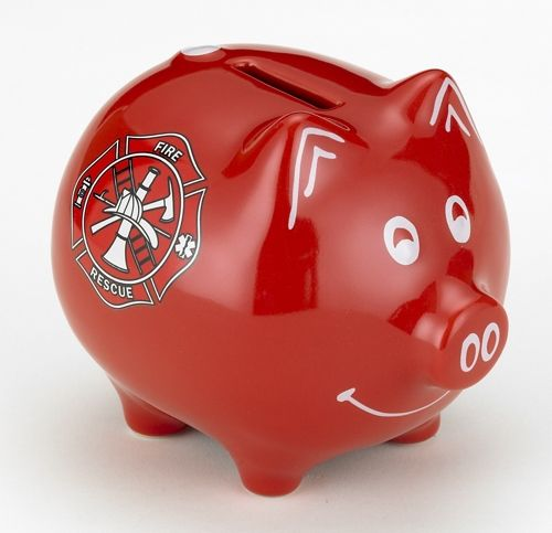This handsome bank has a fire engine red finish with white accents and a Fire Rescue symbol. Our Fire Rescue Piggy Bank is made from sturdy ...