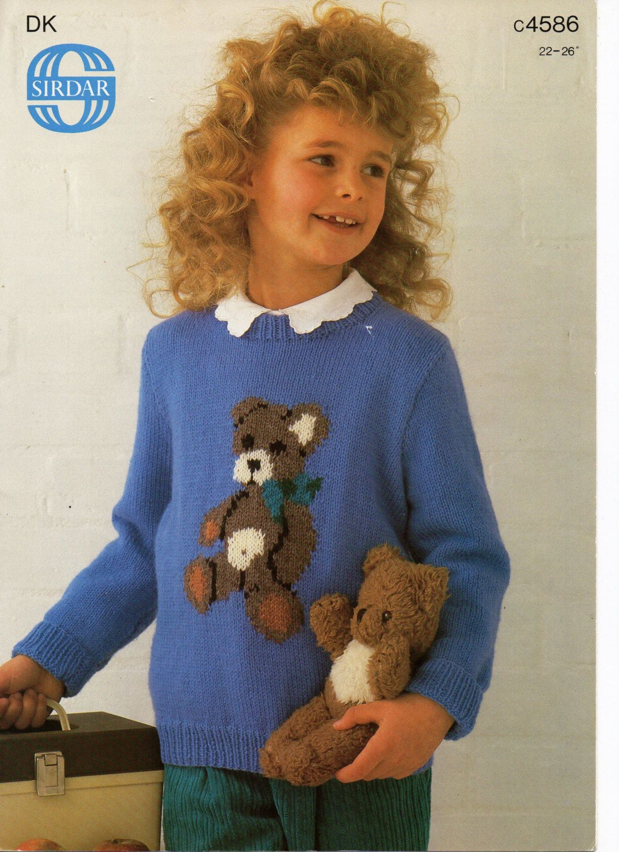 Baby Childrens Teddy Bear Motif Sweater Knitting Pattern