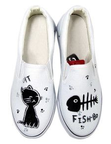 7e8dec64 Zapatos de lona blanca con gato y pez pintado a mano | Crear ...