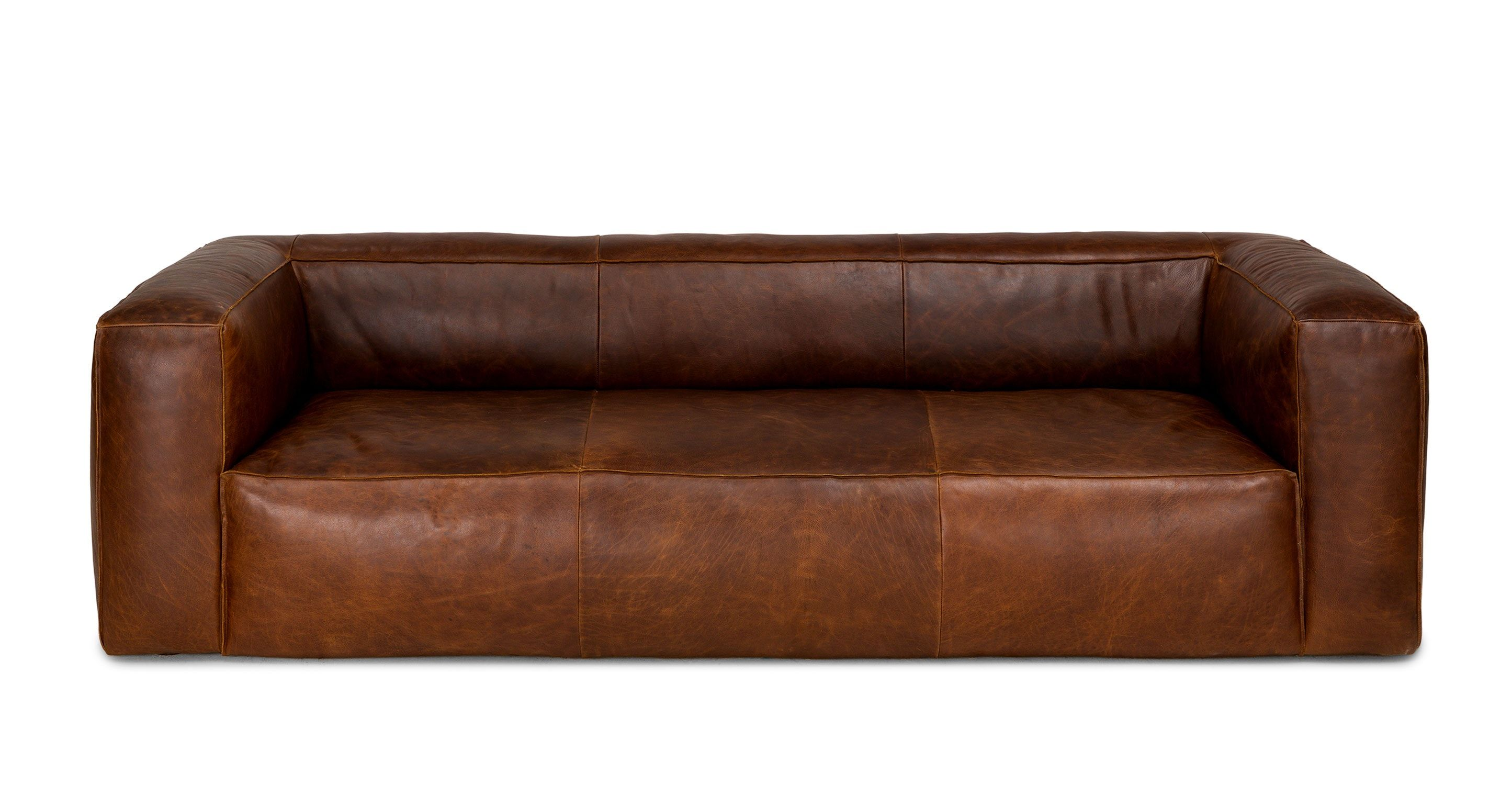 Brown Sofa Italian Leather Upholstered