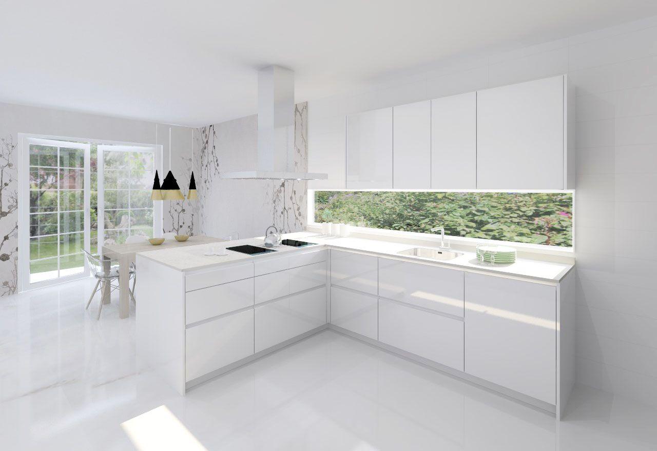 Modelo Line L Blanco Brillo Encimera Silestone Blanco Decoracion De Cocina Moderna Decoracion De Cocina Diseno De Cocina Moderna