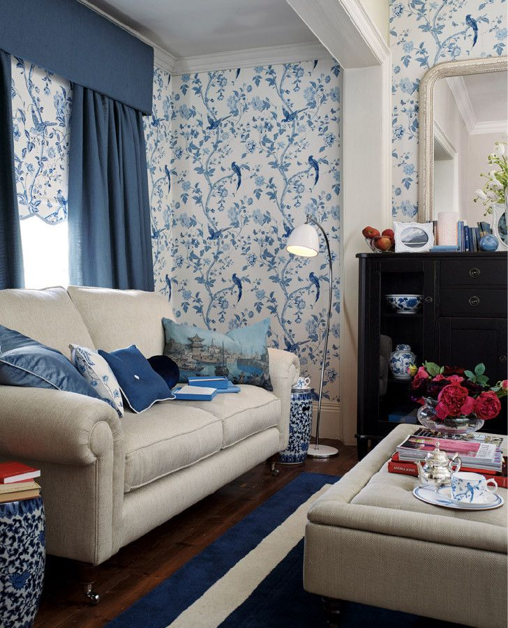 Best Laura Ashley Summer Palace Royal Blue Floral Wallpaper 640 x 480