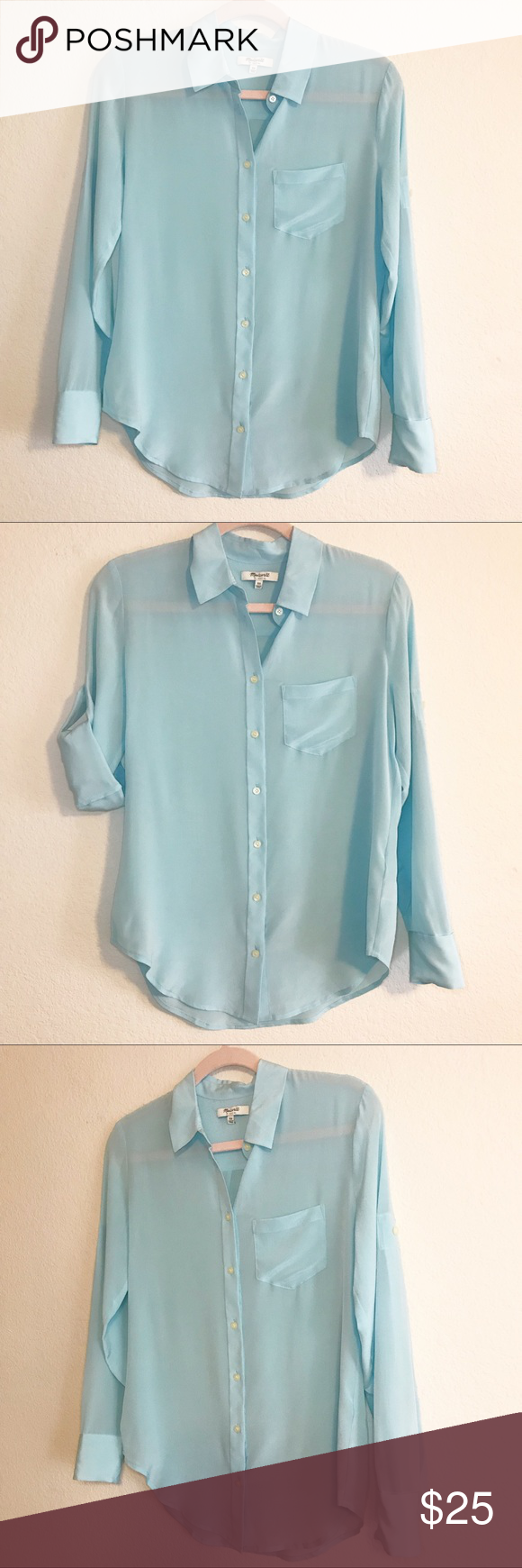 59c14622 Madewell Silk Boy Shirt Madewell button down shirt in a pretty light blue  color Sleeves can