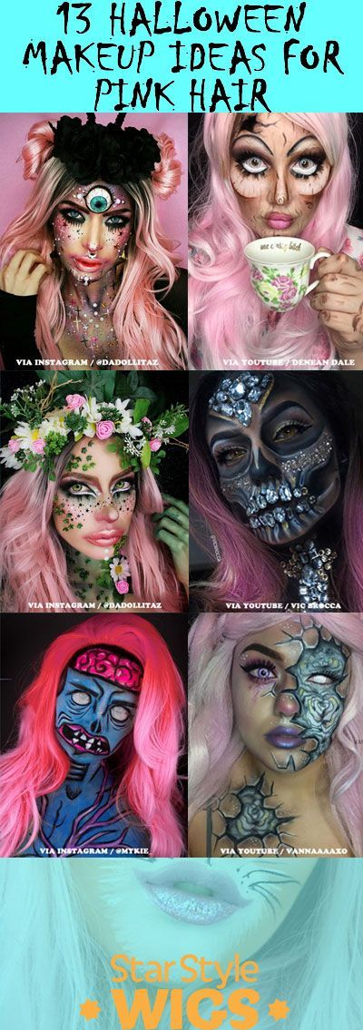 13 Halloween Makeup Ideas For Pink Hair Pink Wigs Costume Pink Wig Pink Hair