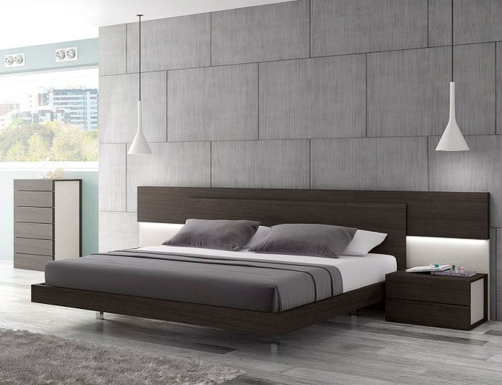 European Made Wenge Platform Bed With Lighting In Headboard This Premium Platform Bed Is A