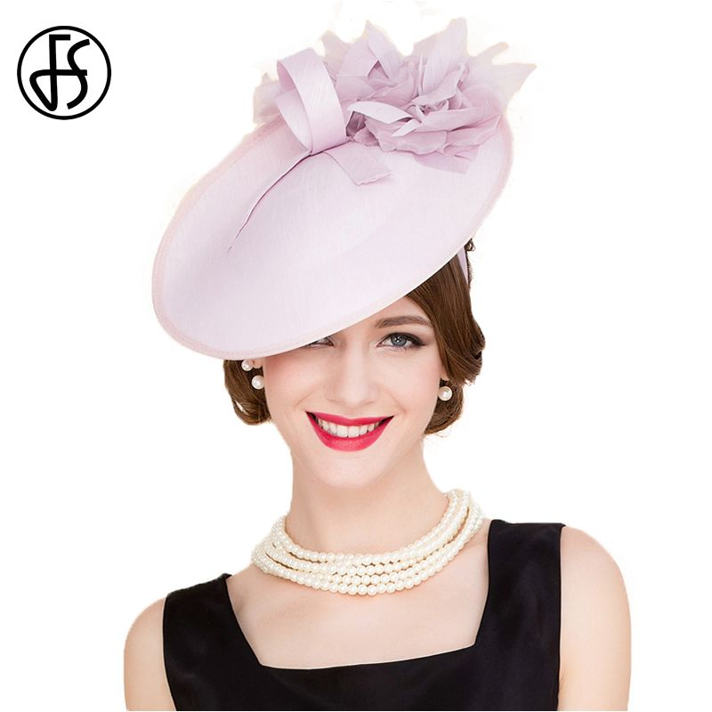 0638b1c5544 FS England Style Pink Pillbox Hats Women Elegant Flower Fedora For Ladies  Wedding Dress And Fascinator Party Church Derby Hat