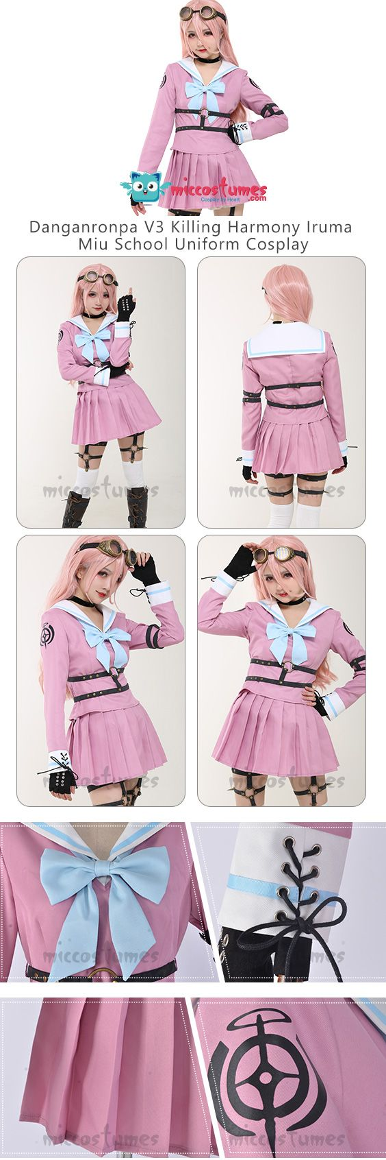 Danganronpa V3 Killing Harmony Iruma Miu School Uniform Cosplay Costume Set New