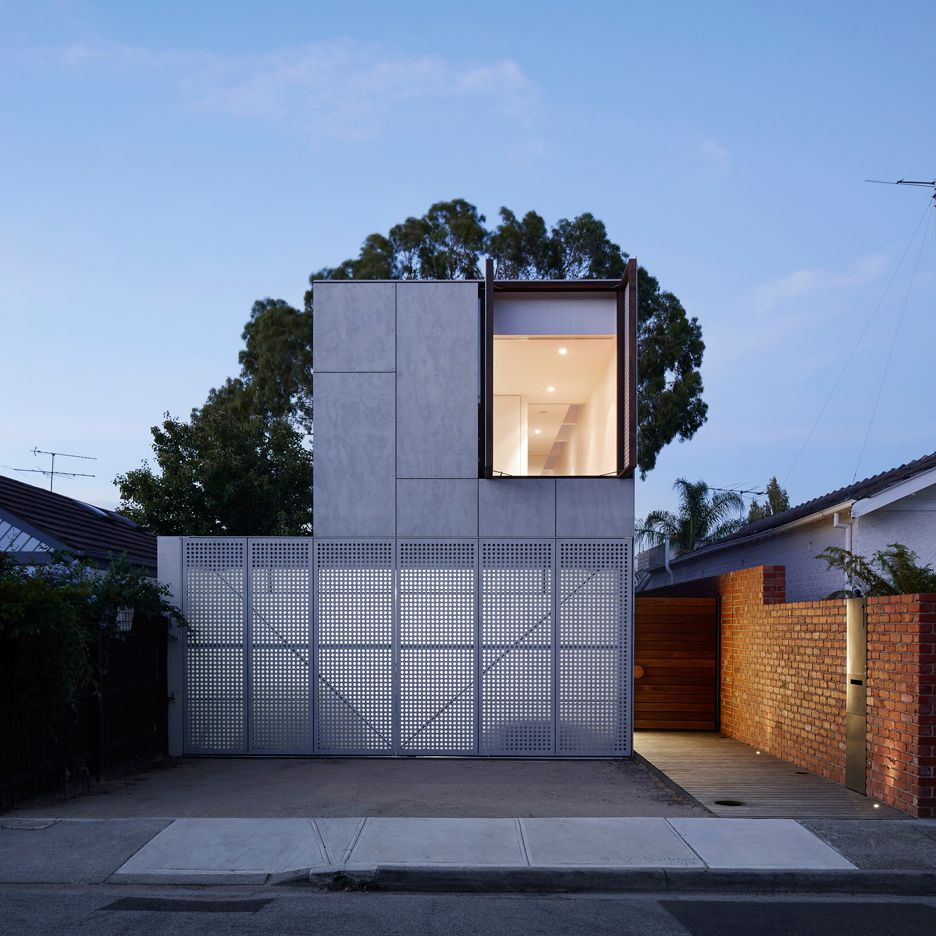 Contemporary Australian Home Architecture On Yarra River: Perforated Shutters Animate Facade Of Melbourne House By