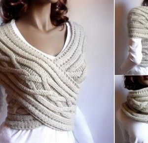 cb83cabf4c55 Comment tricoter une écharpe-gilet   Idées cadeaux adultes   Tricot ...