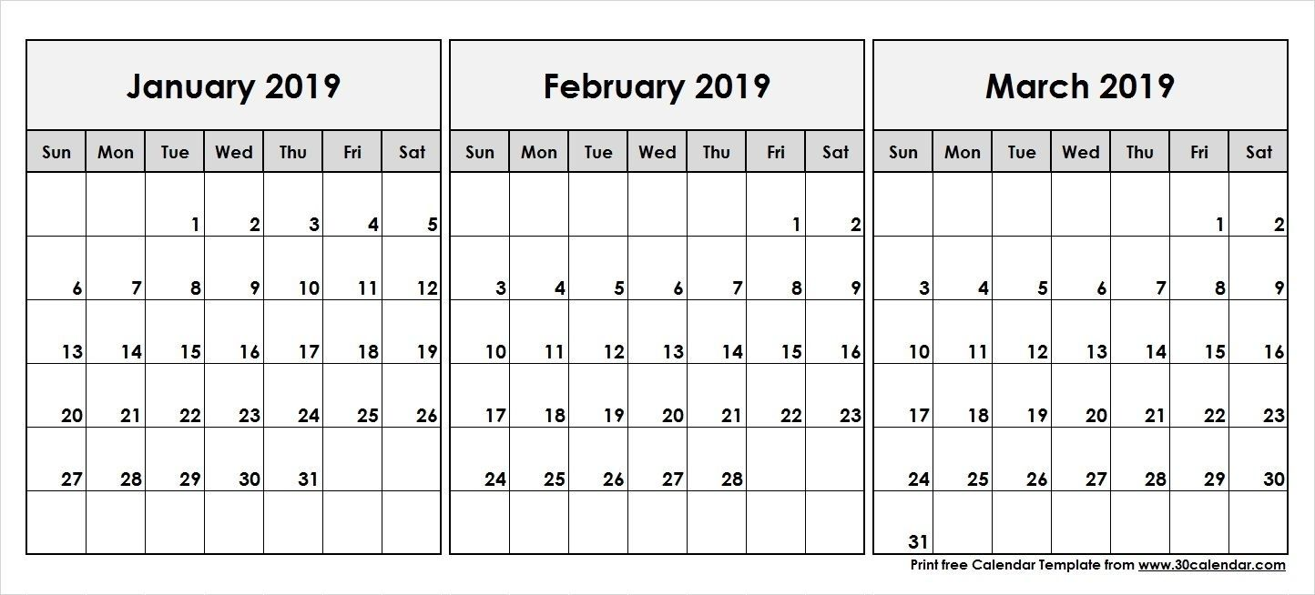 2019 Calendar Jan Feb March Calendar Template 555 December