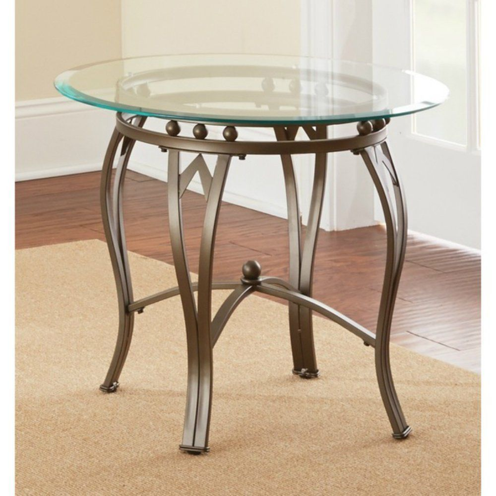 Modern glass end table  Greyson Living Maison Glasstop Round End Table  Pinterest