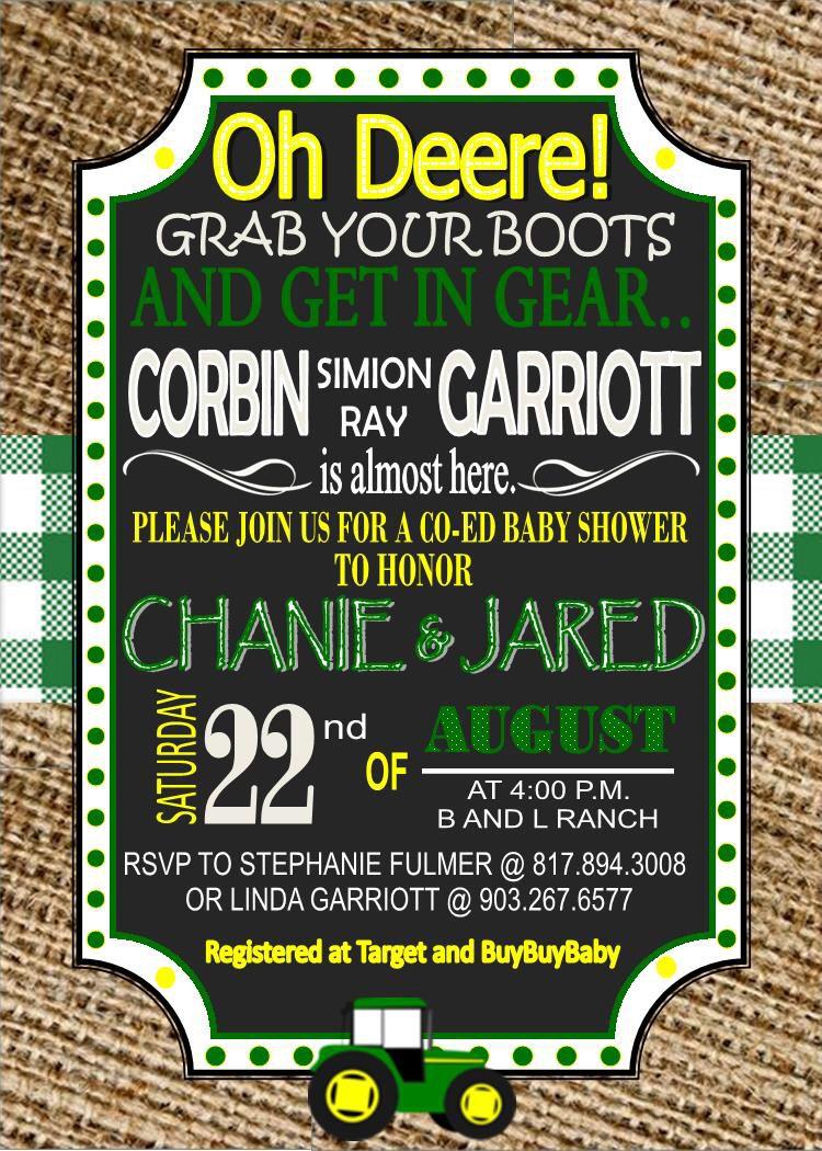John Deere baby shower invite | Corbin | Pinterest | John deere baby ...