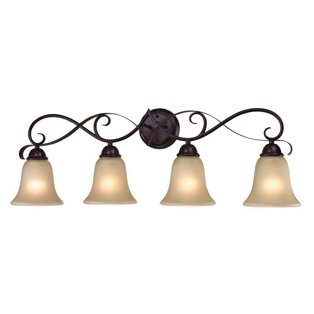 Cornerstone Lighting Brighton 4 Light Bathroom Vanity Light With Frosted  Oil Rubbed Bronze Indoor Lighting Bathroom Fixtures Vanity Light