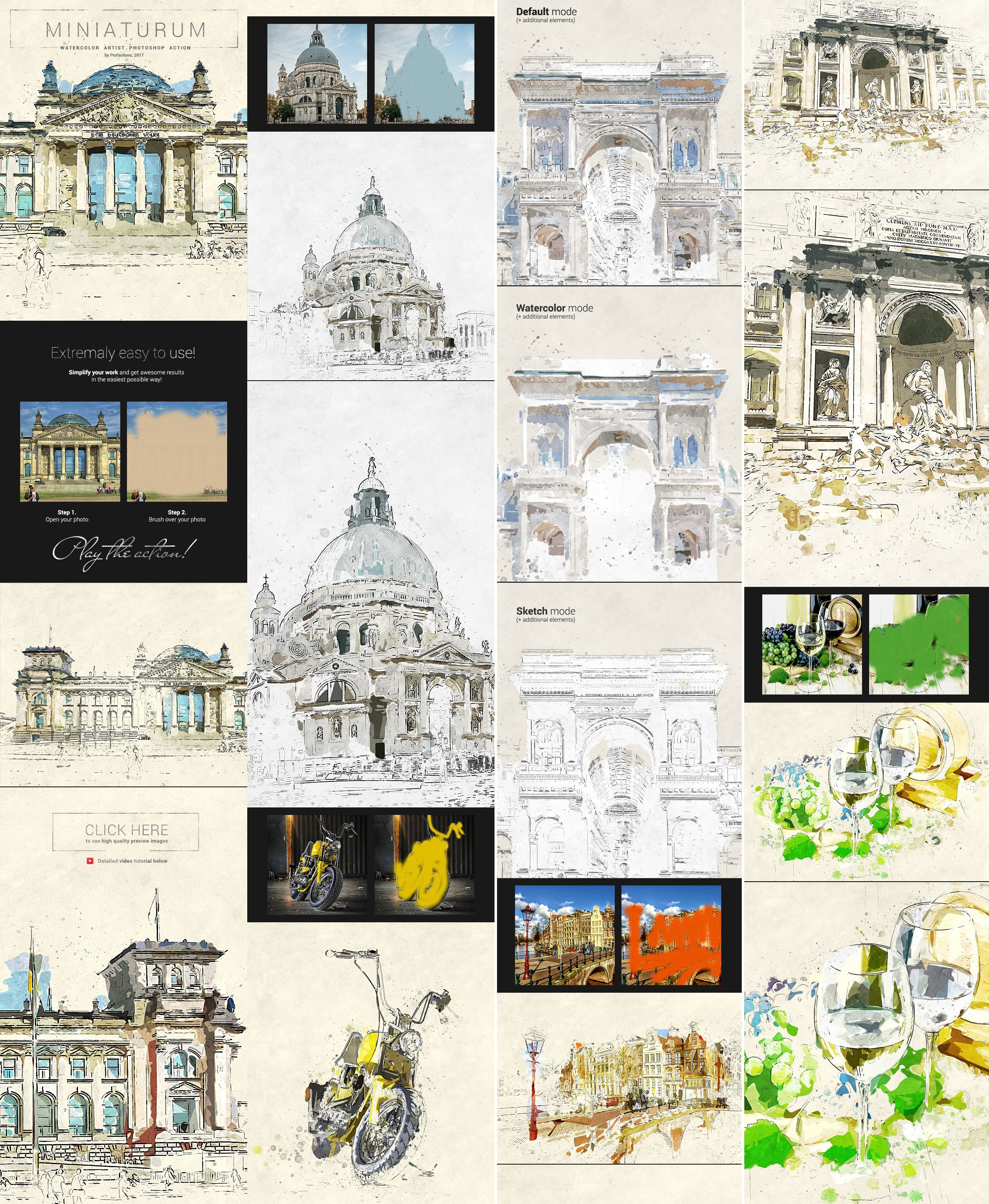 miniaturum - watercolor sketch photoshop action free download