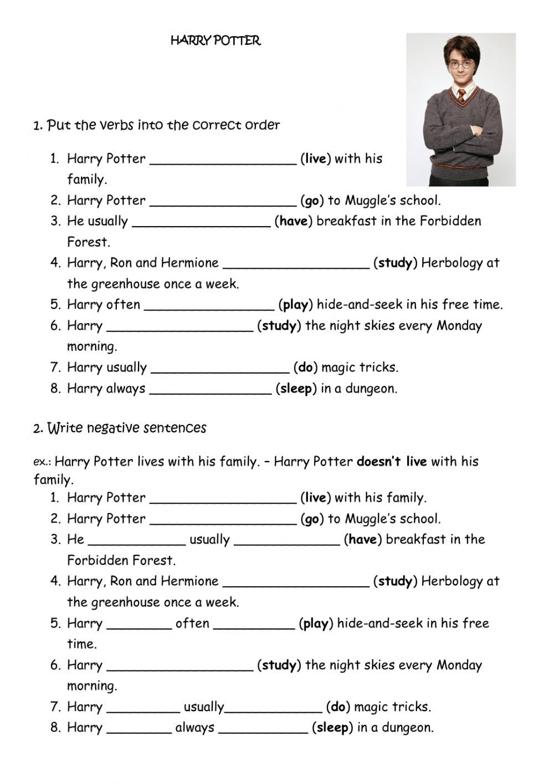 Harry Potter Present Simple Worksheet In 2021 Harry Potter Presents Harry Potter Harry [ 1413 x 1000 Pixel ]