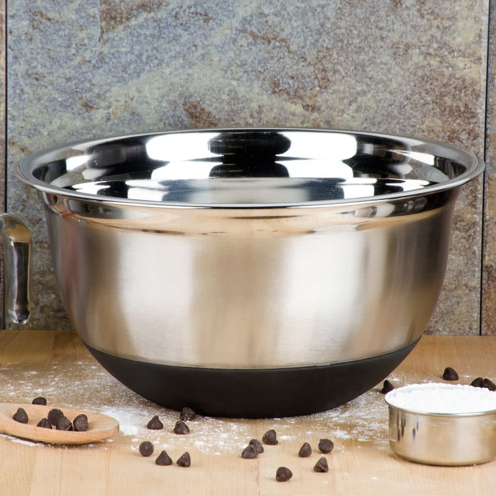 Heavyweight Stainless Steel With Bottom Grip//Non-Slip Base Mixing Bowl 8 Qt