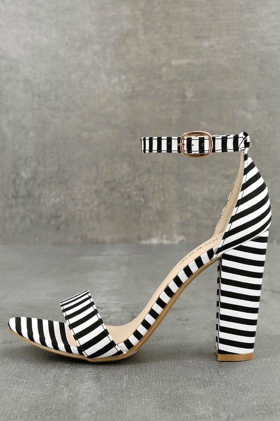b749b05946e The Veda Black and White Striped Ankle Strap Heels are here to impress!  Beautiful striped fabric shapes a minimal toe strap and adjustable ankle  strap (with ...