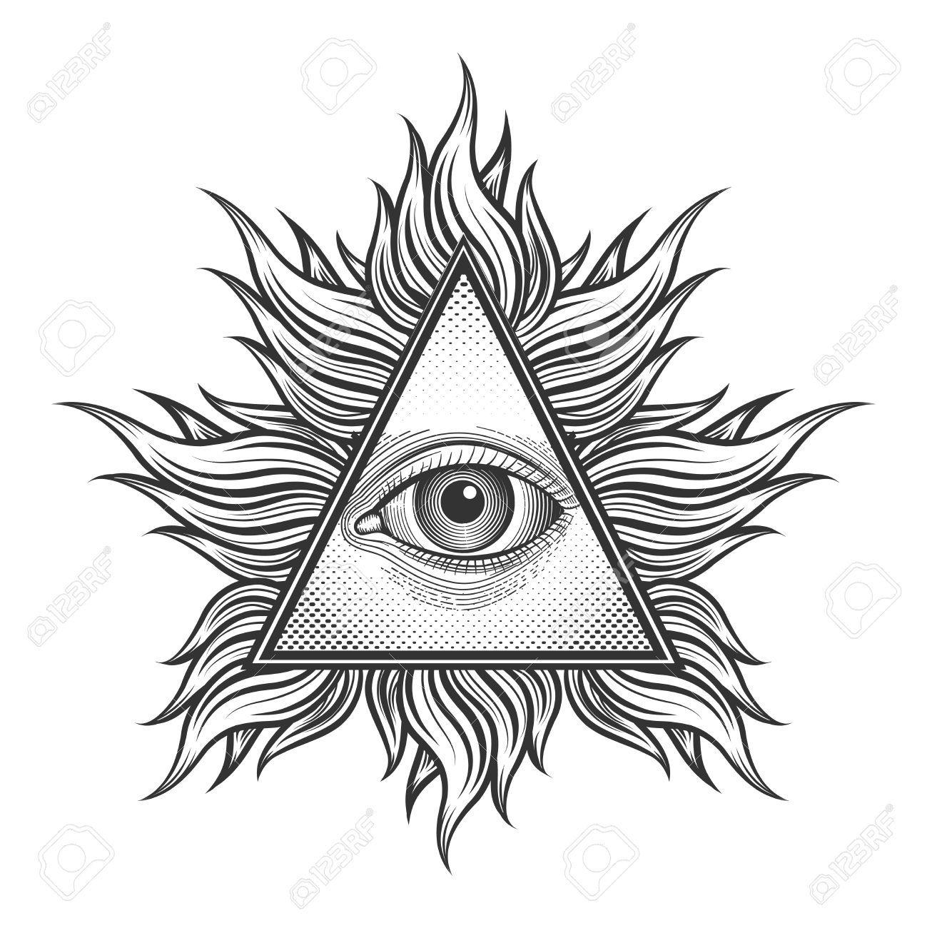 43676022-All-seeing-eye-pyramid-symbol-in-the-engraving-tattoo-style-Freemason-and-spiritual-illuminati-and-r-Stock-Vector.jpg (1299×1300)