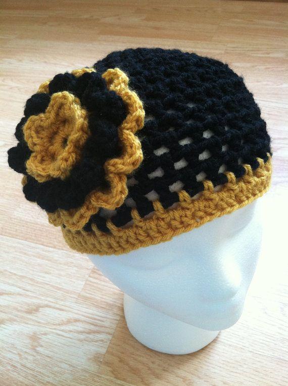 Pittsburgh Steelers inspired crochet flower hat by StitchinSally ... c009fdaaf