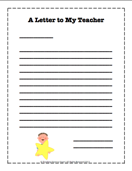End Of The Year Letter To My Teacher Template  School Ideas