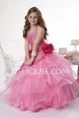 A-Line/Princess Scoop Neck Floor-Length Taffeta  Organza Flower Girl Dresses With Ruffle  Beading (010005778)