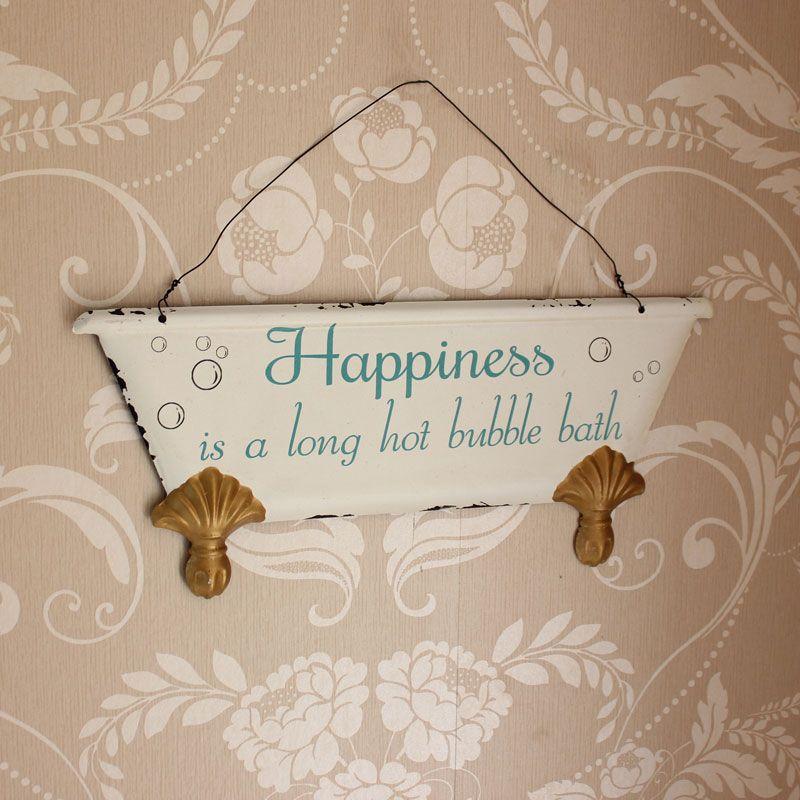Bathroom Sign Ebay happiness is.' hanging bathroom wall plaque | shabby vintage