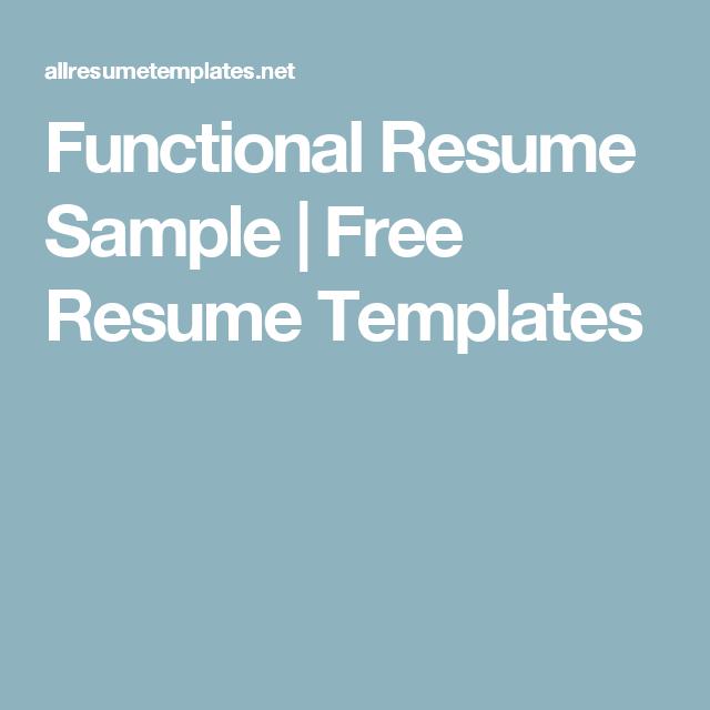 Functional Resume Sample   Free Resume Templates   Resume ...