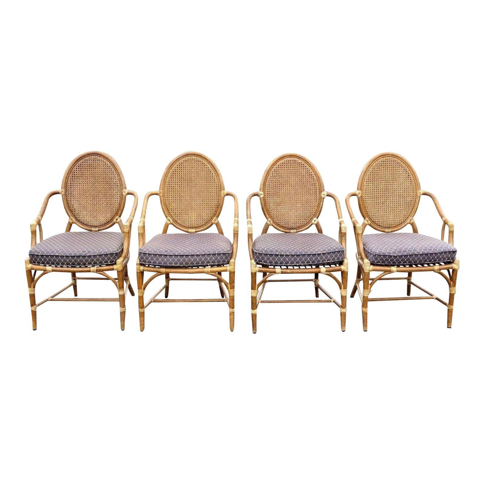 Vintage McGuire Rattan Cane Back Dining Chairs Set of 4