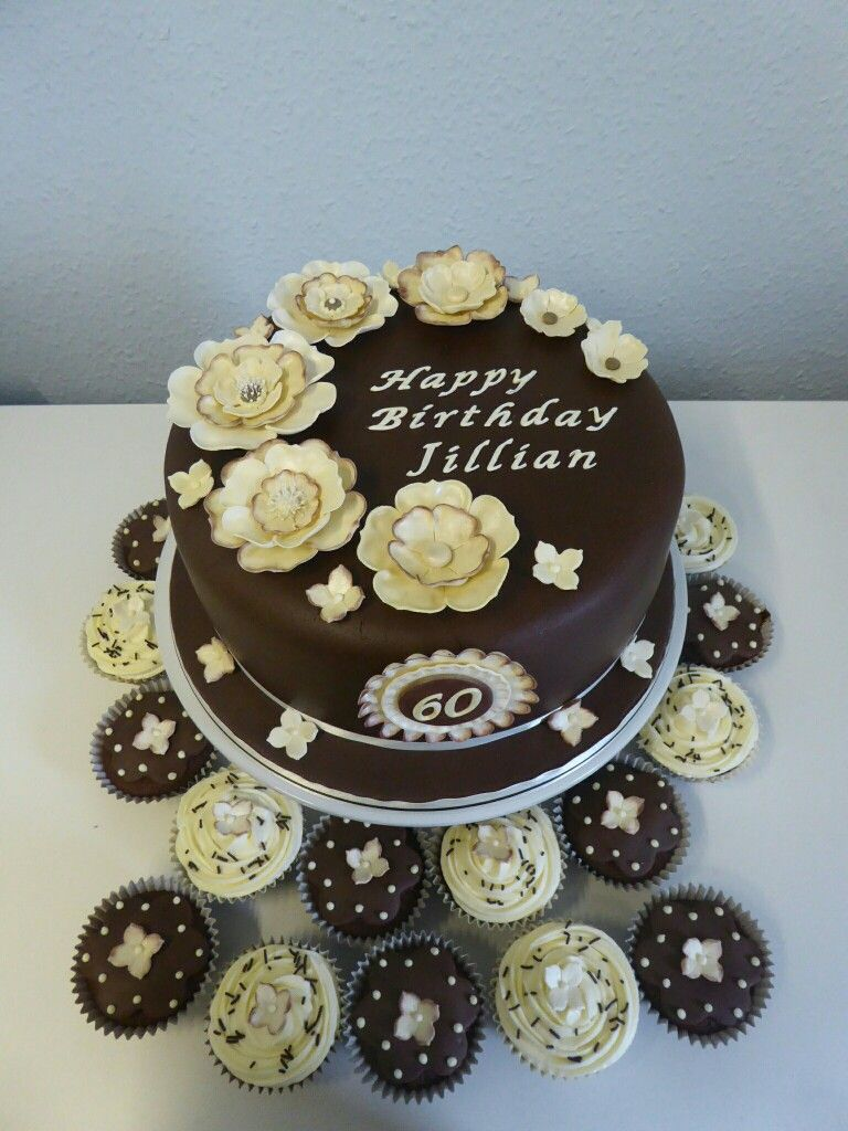 Chocolate cake for 60th birthday with coordinating