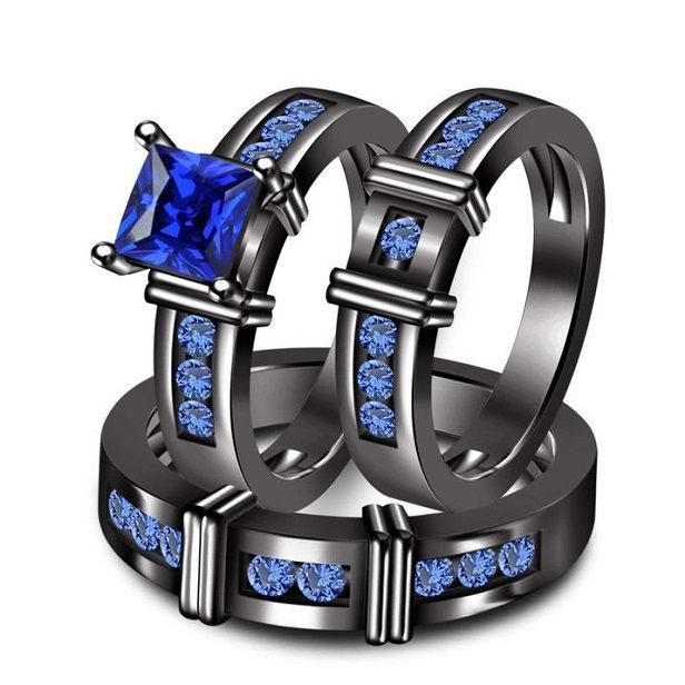 Amazing Black Tungsten Wedding Couple Bands With Blue Sapphire And