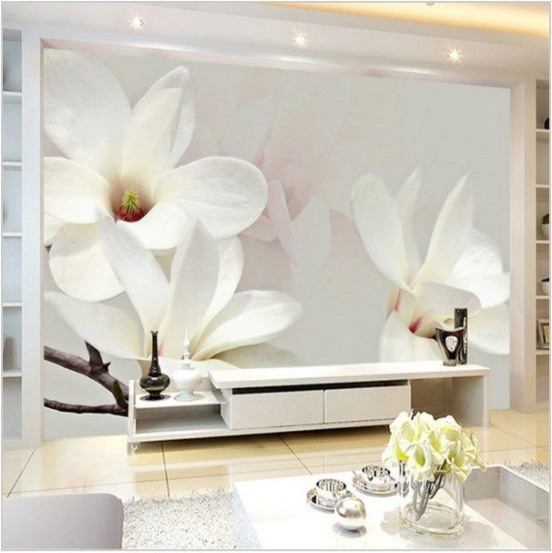3D Modern Wall Mural White Magnolia Lily Wallpaper In 2019