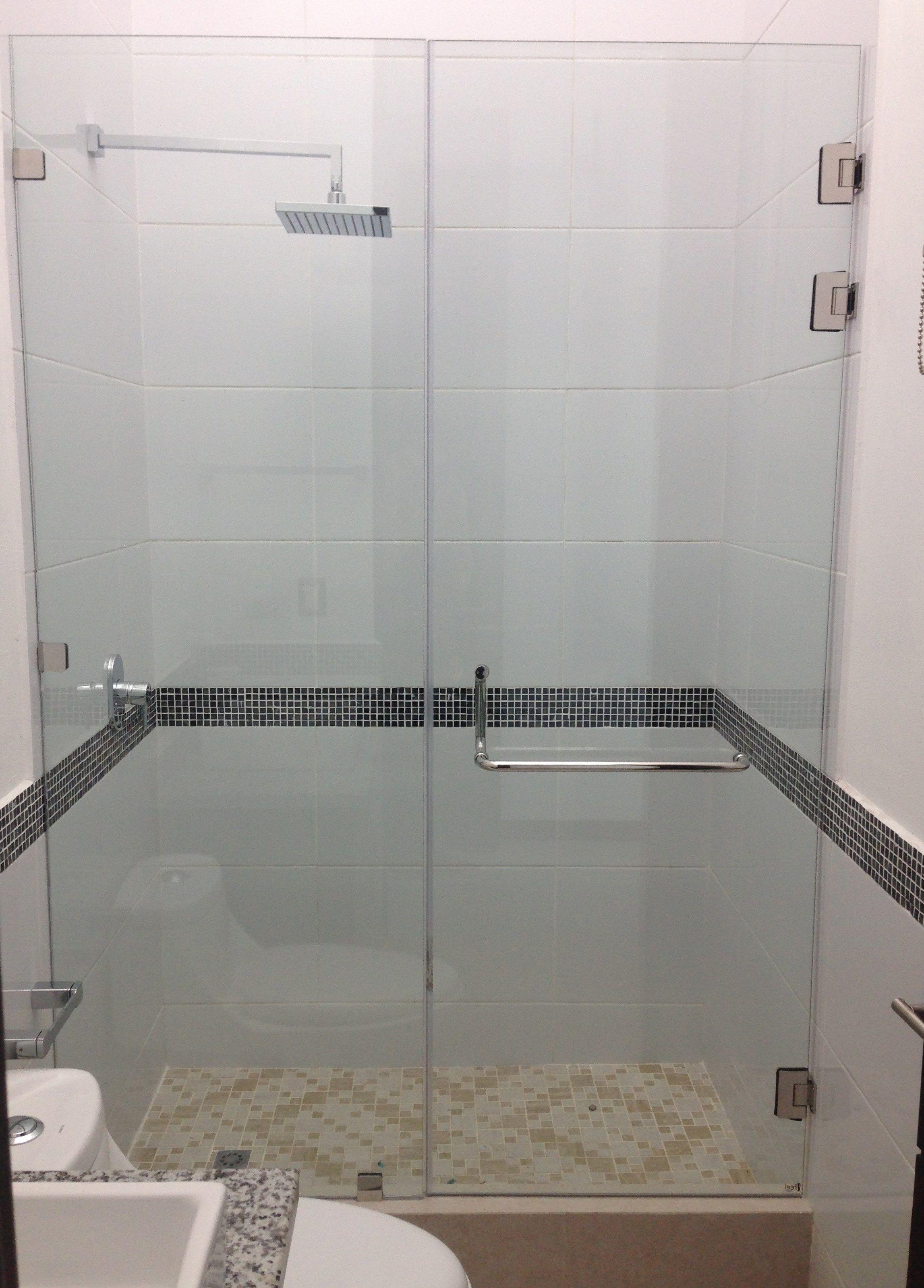 Puerta de ducha en vidrio templado de 10 mm con accesorios ...