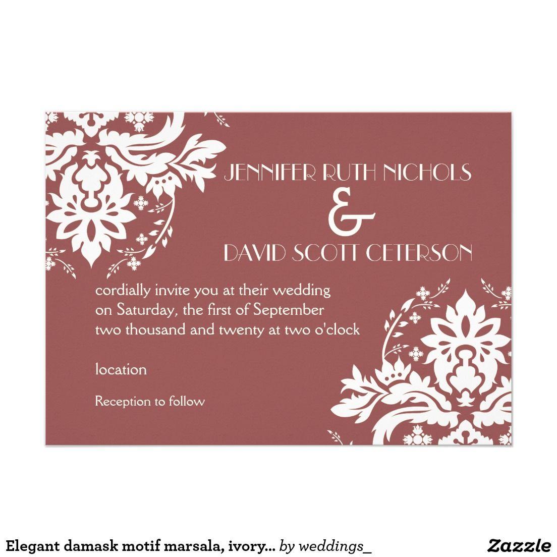 Elegant damask motif marsala, ivory wedding card