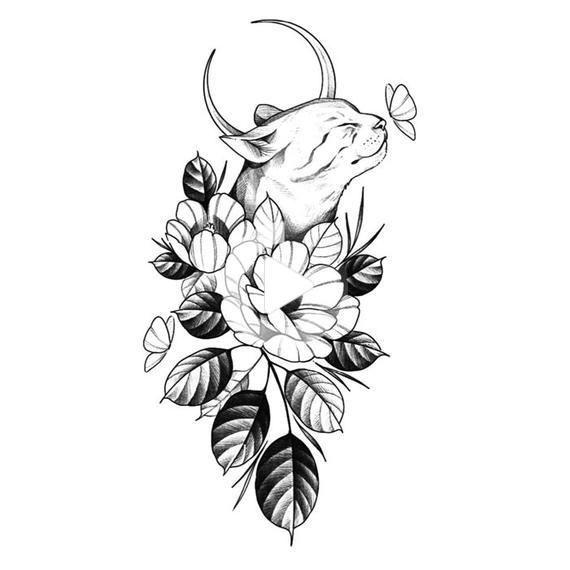 Black Cat Moon Floral Flower temporary tattoo vintage Fake waterproof