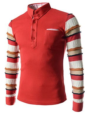 (CZ57-RED) Slim Fit Stripe Patched 1 Chest Pocket Arm Knitted Stretchy Long Sleeve Tshirts