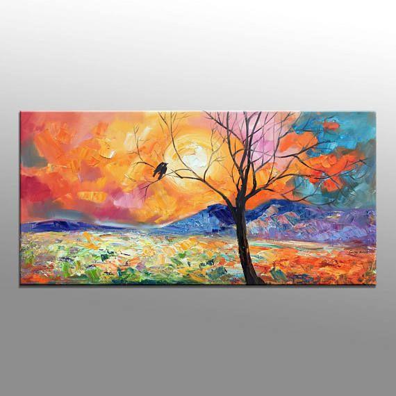 Landschaft Ölgemälde, Malerei, Wohnzimmer-Wand-Dekor, moderne - moderne kunst wohnzimmer