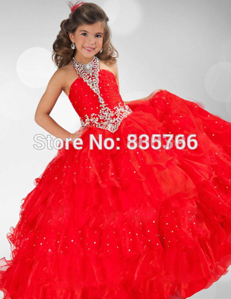 Red party dress for little girlsgirls pageant dressred ball gown