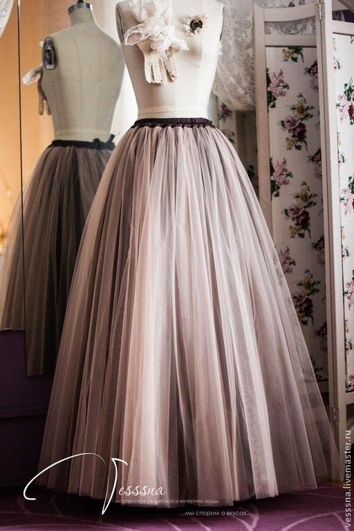 9ba3cdc67cf Купить Длинная юбка из фатина Кофе - юбка из фатина