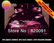 Top Grade Luxury Oil Painting Romantic Bedding Bed Set Duvet Cover Set 3D Pink Roses Butterfly Guaranteed 100% Cotton,No Fading(China (Mainland))