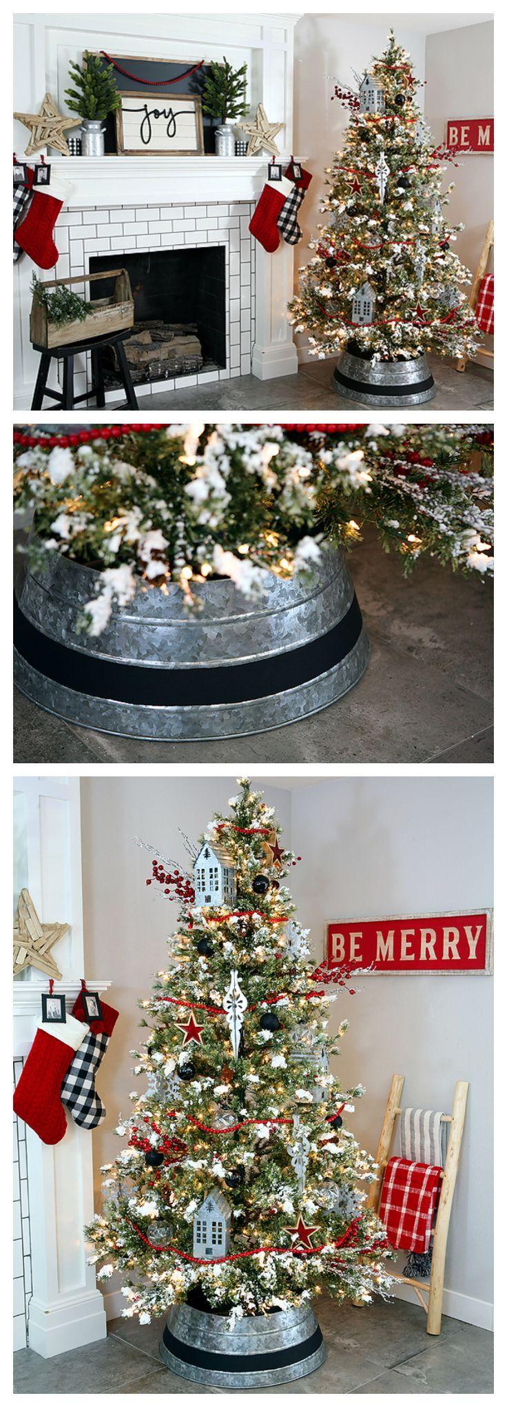 Farmhouse Christmas Tree with Cool Galvanized Tree Collar