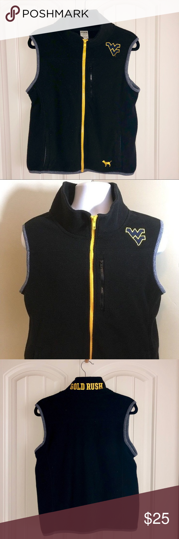 WVU Mountaineers Gold Rush Vest Victorias Secret PINK / 5th Ocean Womens West Virginia University Mountaineers Gold Rush Vest. Embroidered WV logo. Size small. Worn once! Great condition. Zips up and has 3 pockets. Navy blue and yellow gold. PINK Victoria's Secret Tops #wvumountaineers